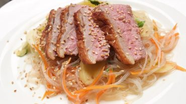 Refreshing and Exotic: Crispy Duck with Mango Glass-Noodle Salad