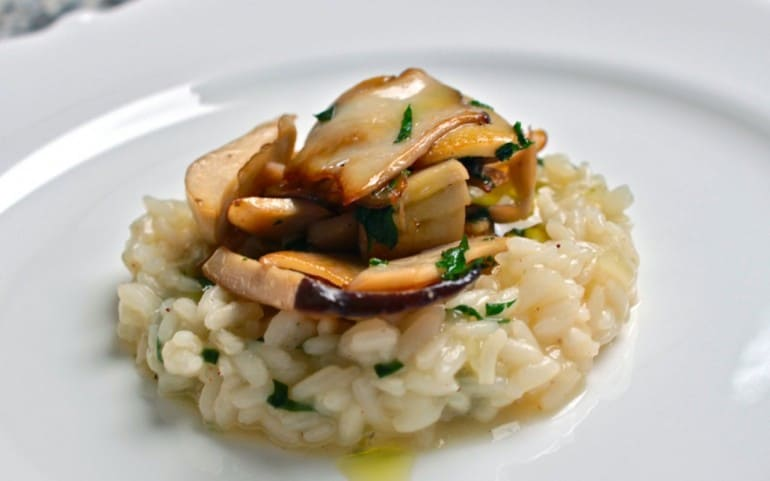 Risotto with king oyster mushrooms.
