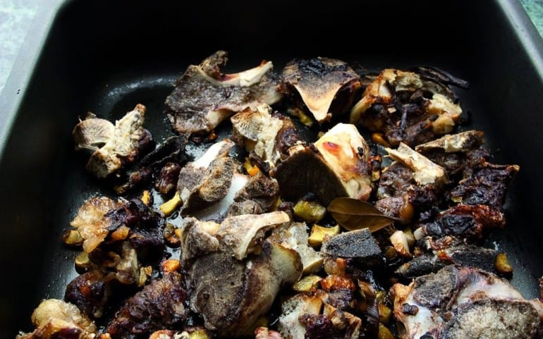 Roasted veal bones for veal stock.