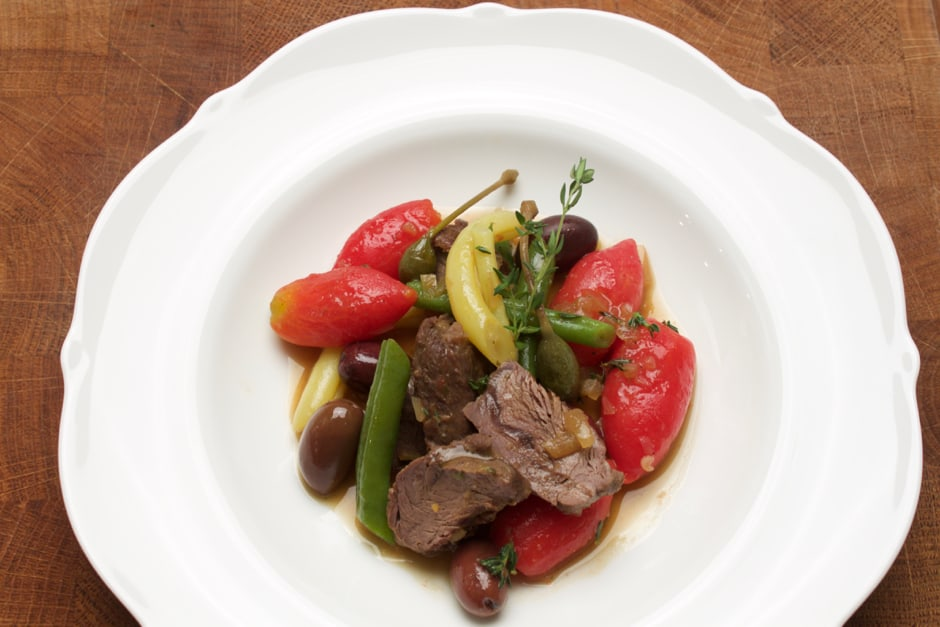 Recipe Venison Goulash prepared in fine Thyme Stock, with Cooking Video Instruction