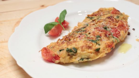 Omelette with Tomatoes, Basil and Cheese - Recipe with Video Instructions