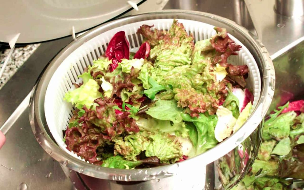 Washing Salad, Step by Step Instructions and Cooking School with Picture