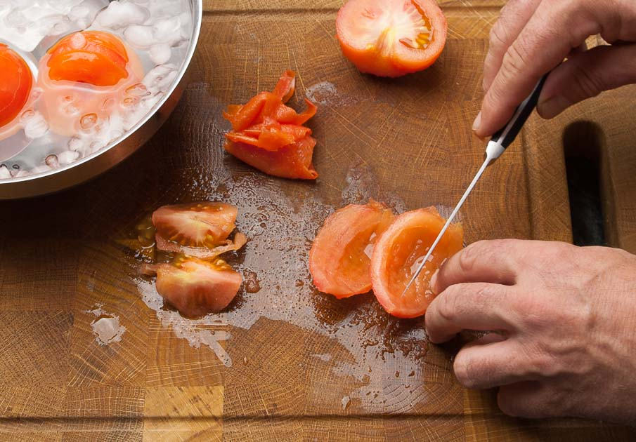remove the seeds from the tomatoes