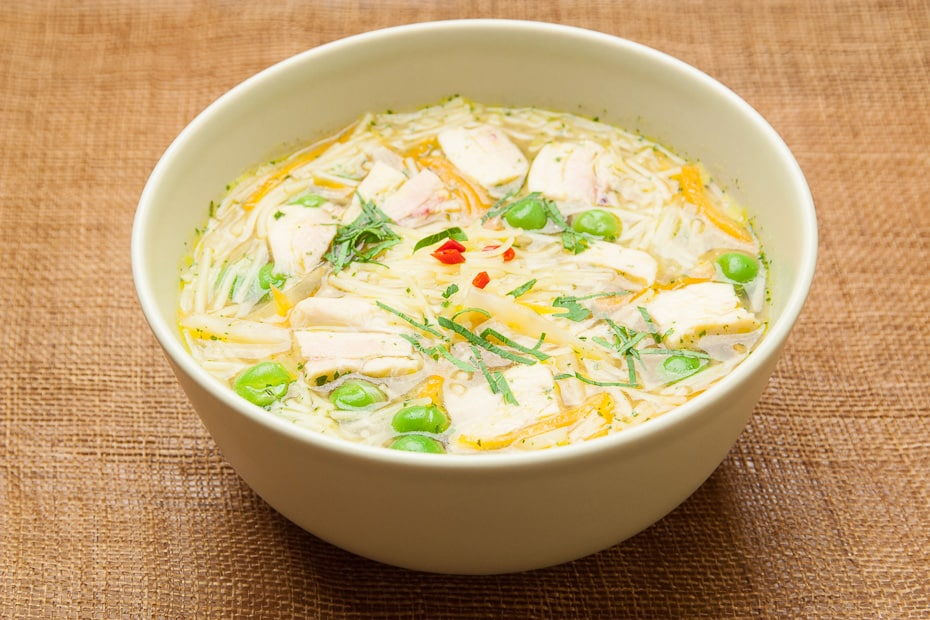Chicken soup with noodles easy to prepare