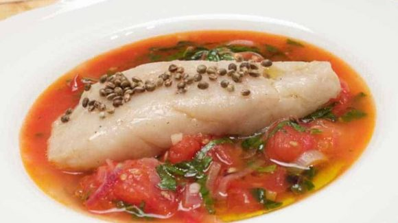 prepare fish in tomato sauce. recipe picture for article with vieos instructions