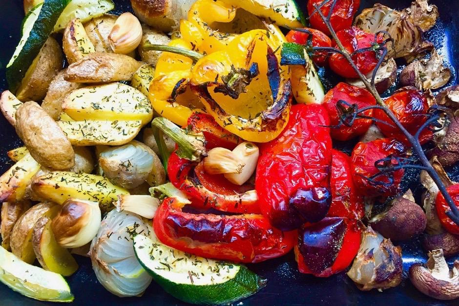 Baked vegetables fresh from the oven. Tasty roasted with plenty of great aromas.
