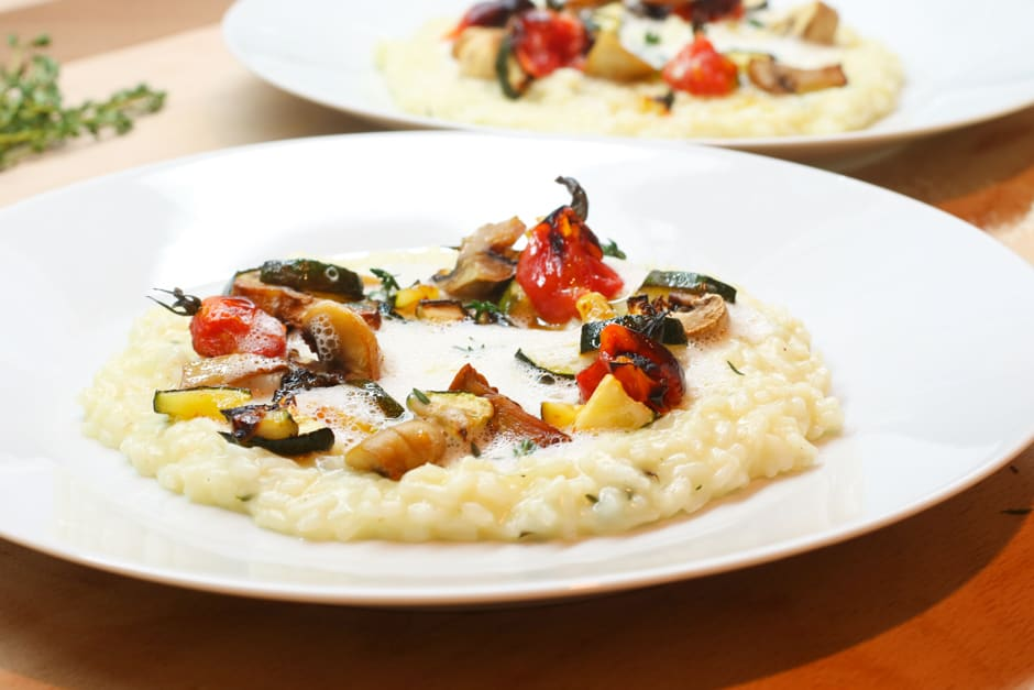 Mediterranean vegetarian vegetables risotto with truffle