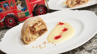 apple strudel with gingerbread a perfect dessert for christmas and a wonderful greeting from bavaria