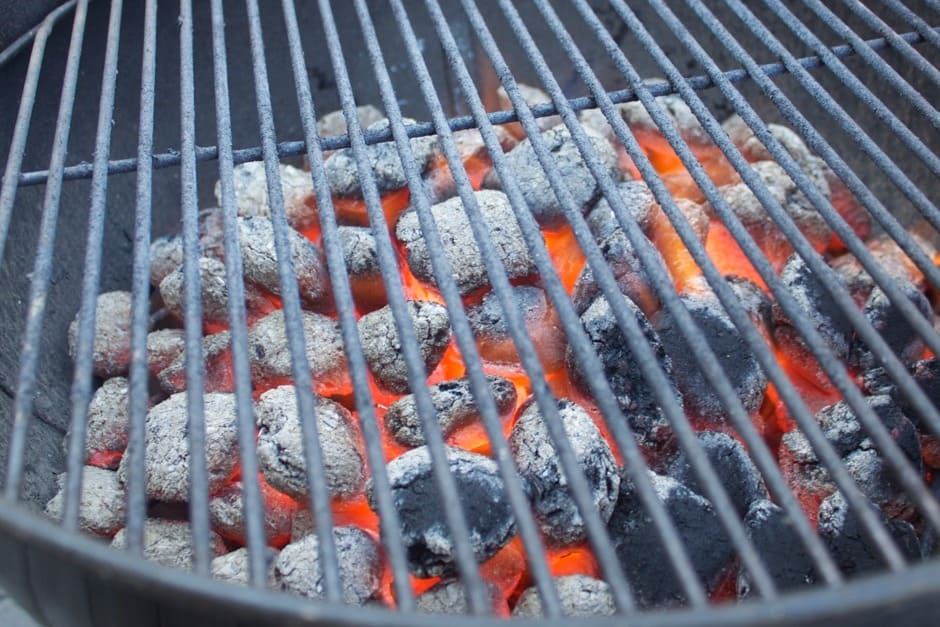 glowing, white charcoal, the ideal moment for grilling.