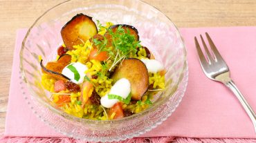 curry rice with vegetables and cress Recipe picture © Thomas Sixt Food Art and Photographer
