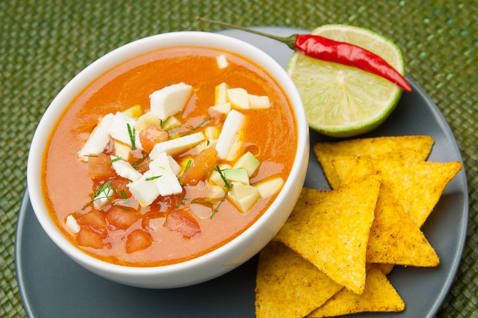 Cold tomato soup with feta cheese, diced tomatoes, avocado, lime and chili. Refreshing and exciting taste!