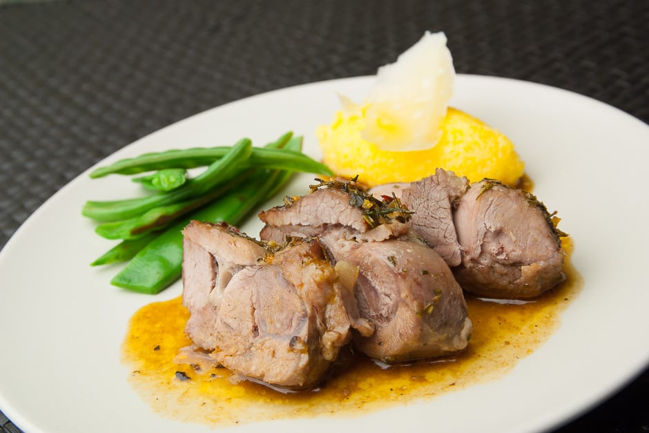 Roast lamb with great side dishes.