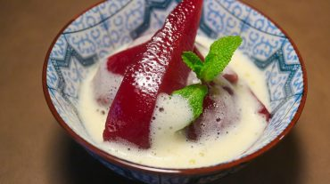 Red wine pears with zabaglione