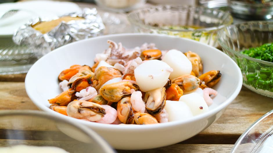Colorful seafood for the fondue.