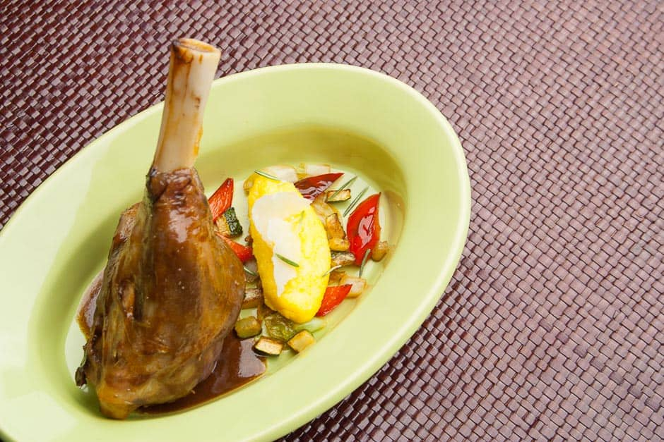 Lamb shank recipe Picture of the braised lamb shank with side dishes