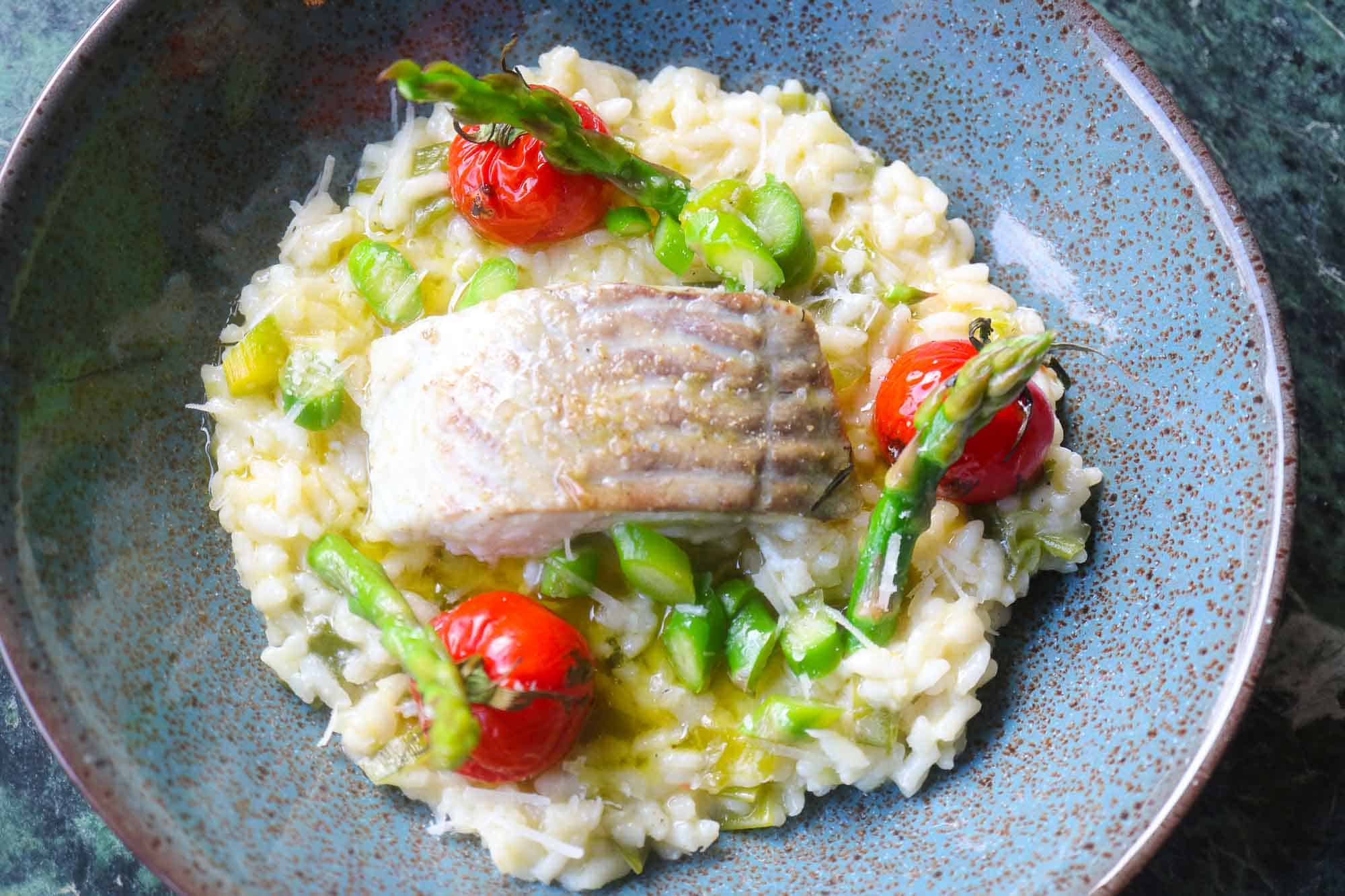 Lemon risotto with fish