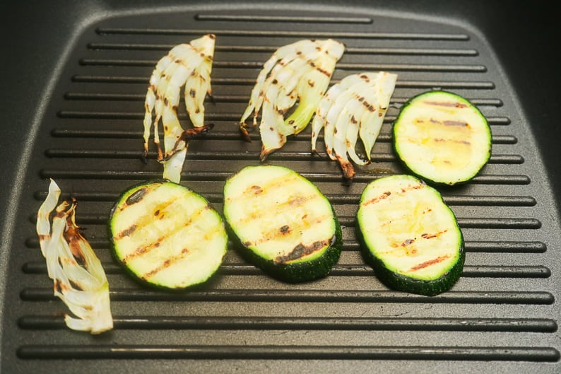 Zuchini and fennel in the pan while frying.