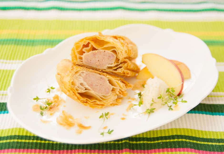 Fingerfood Sousage German Style Crispy Sausage packed in Puff Pastry - ideal finger food