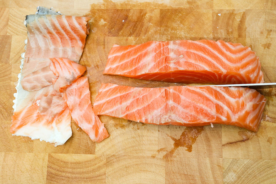 Portion the salmon fillet.