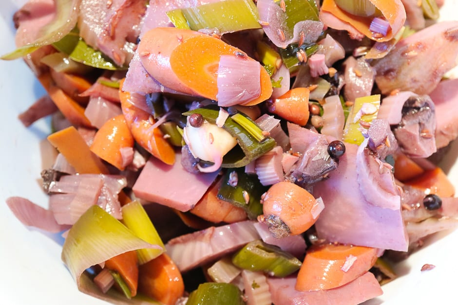 Pickled vegetables from roast beef.