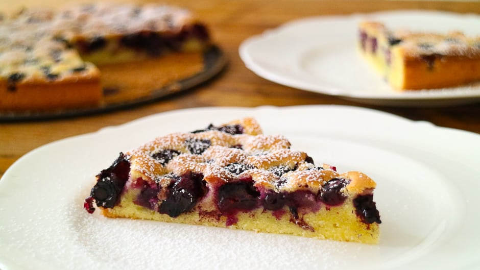 Blueberry pie piece on the plate