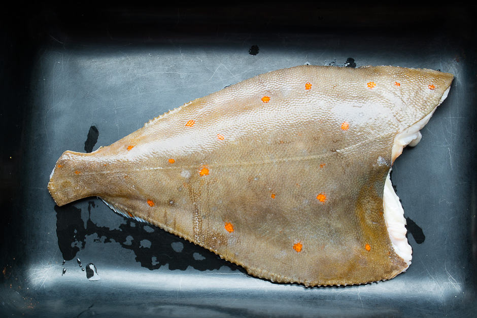 Plaice without head and without fins prepared for frying.