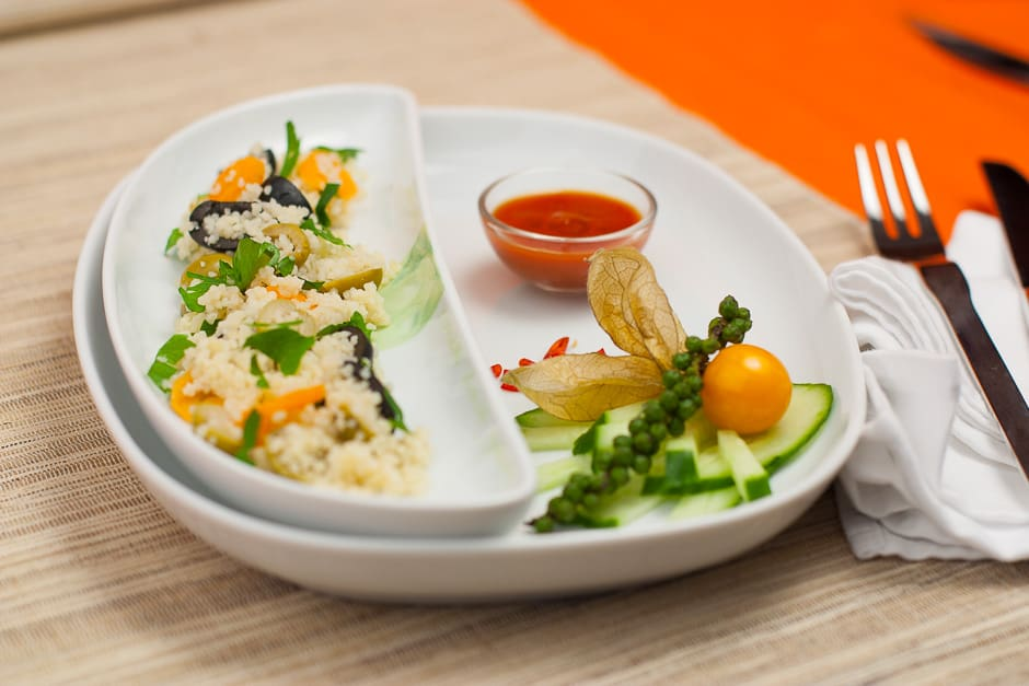 Couscous served with vegetables.