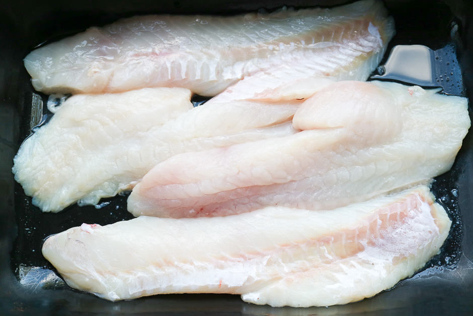 Fish fillets prepared raw ready to cook.