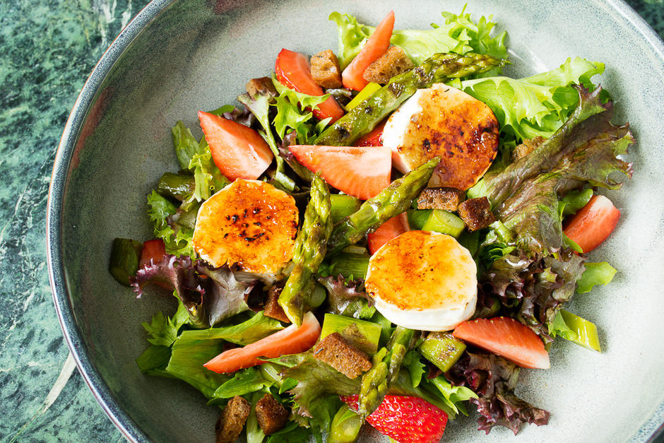 Goat cheese salad served