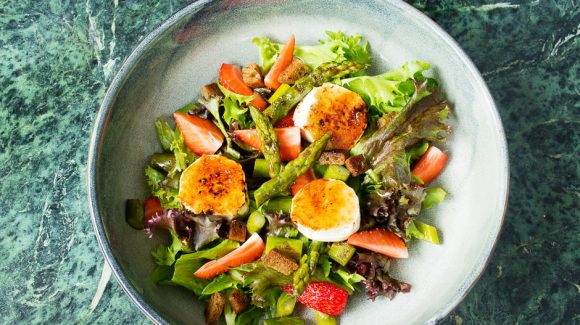 Goat cheese salad colorfully arranged