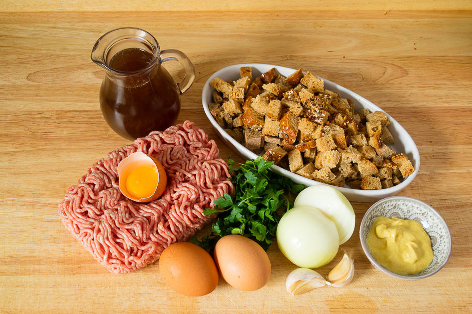 Ingredients for fake rabbit and meatloaf