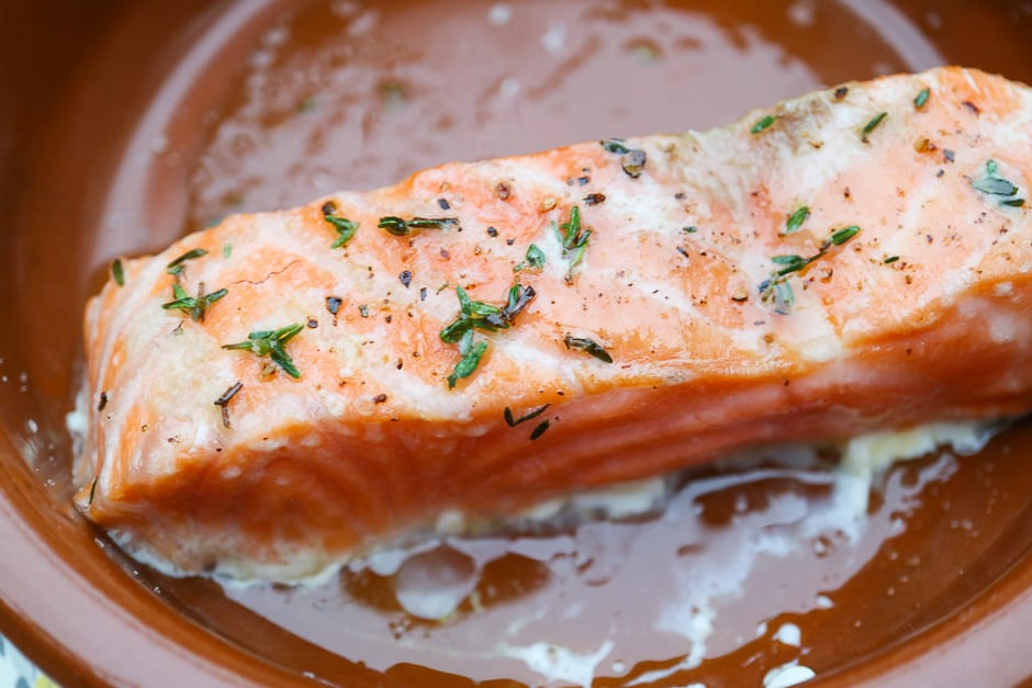 Salmon fillet cooked in the oven at 120 degrees Celsius.