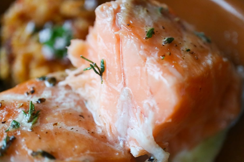 salmon fillet cooked perfectly to the point.