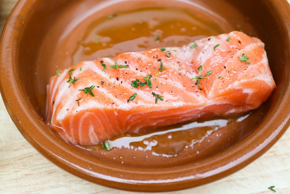 Salmon fillet prepared for cooking in the oven.