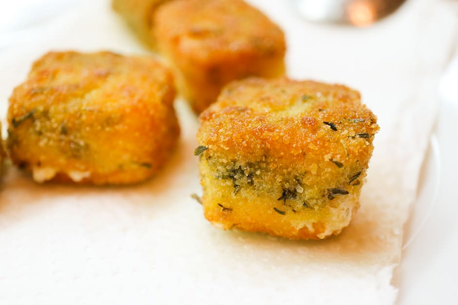 Baked sheep cheese with herbs
