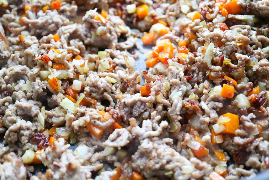 Fry the ground meat and vegetables