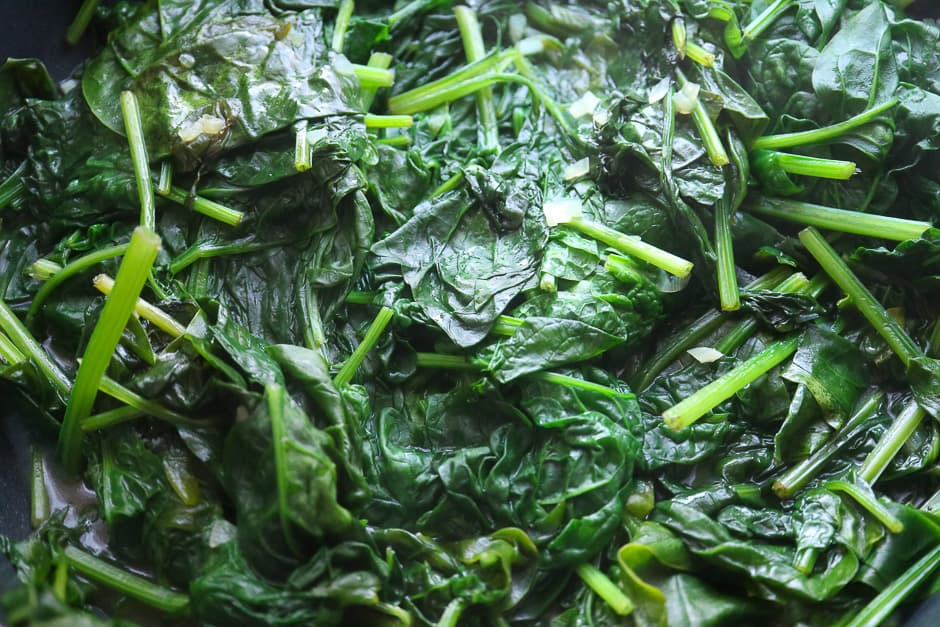 Freshly cooked spinach