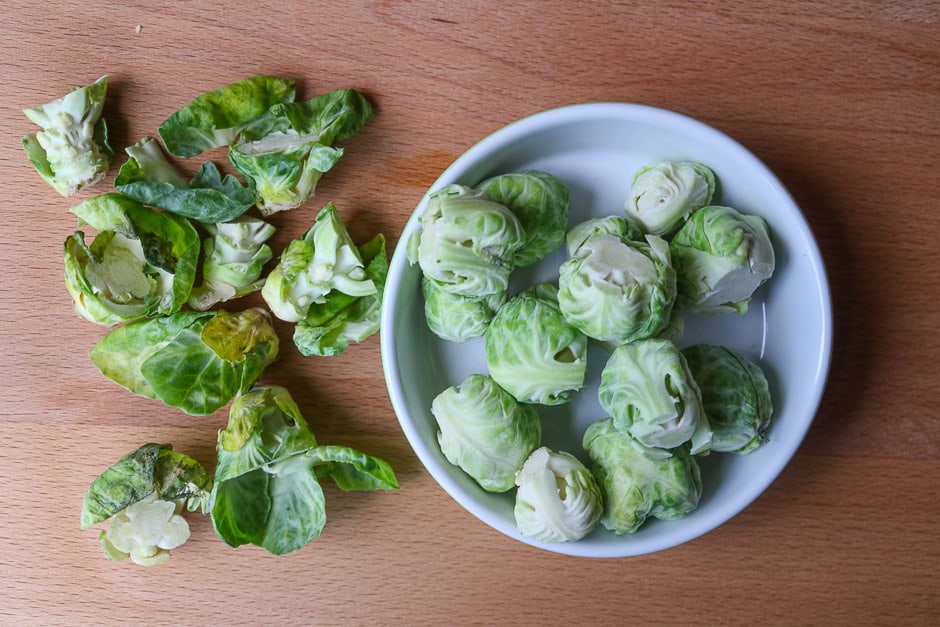 Peeling Brussels sprouts
