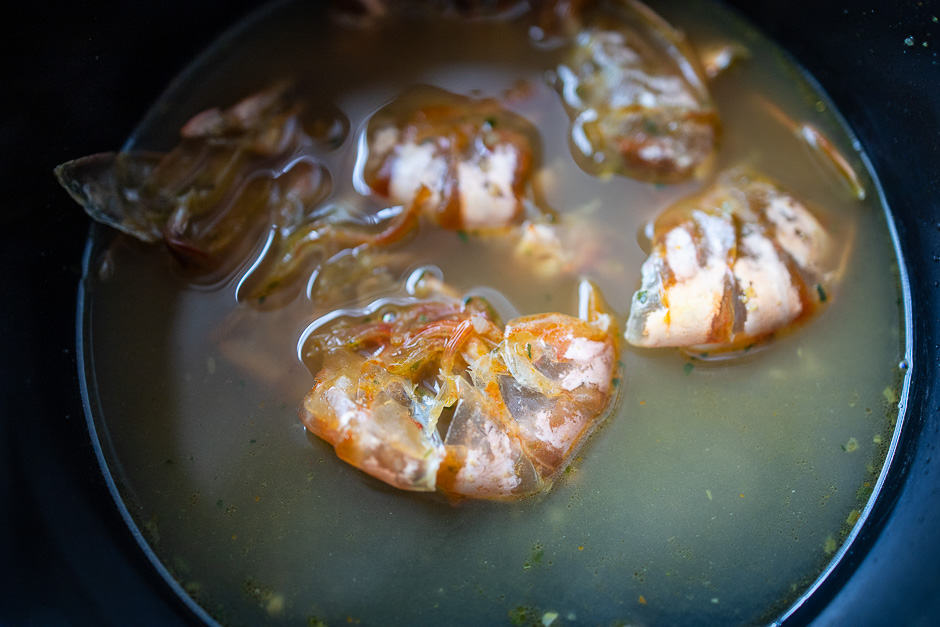 Shrimp shells in the broth