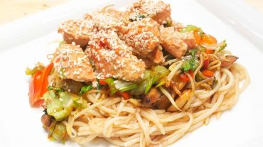 Asian noodles with salmon