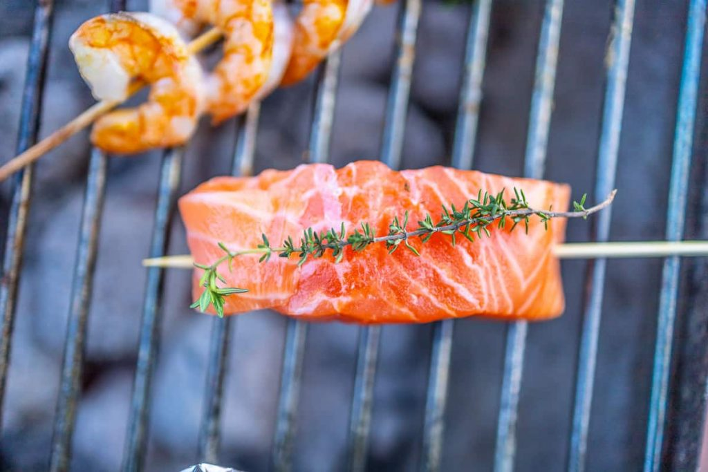 Salmon fillet on the grill