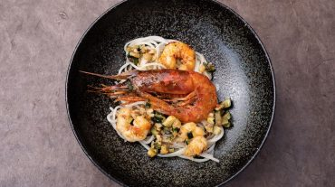Pasta with red prawns