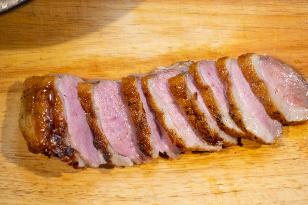 Roasted duck breast pink