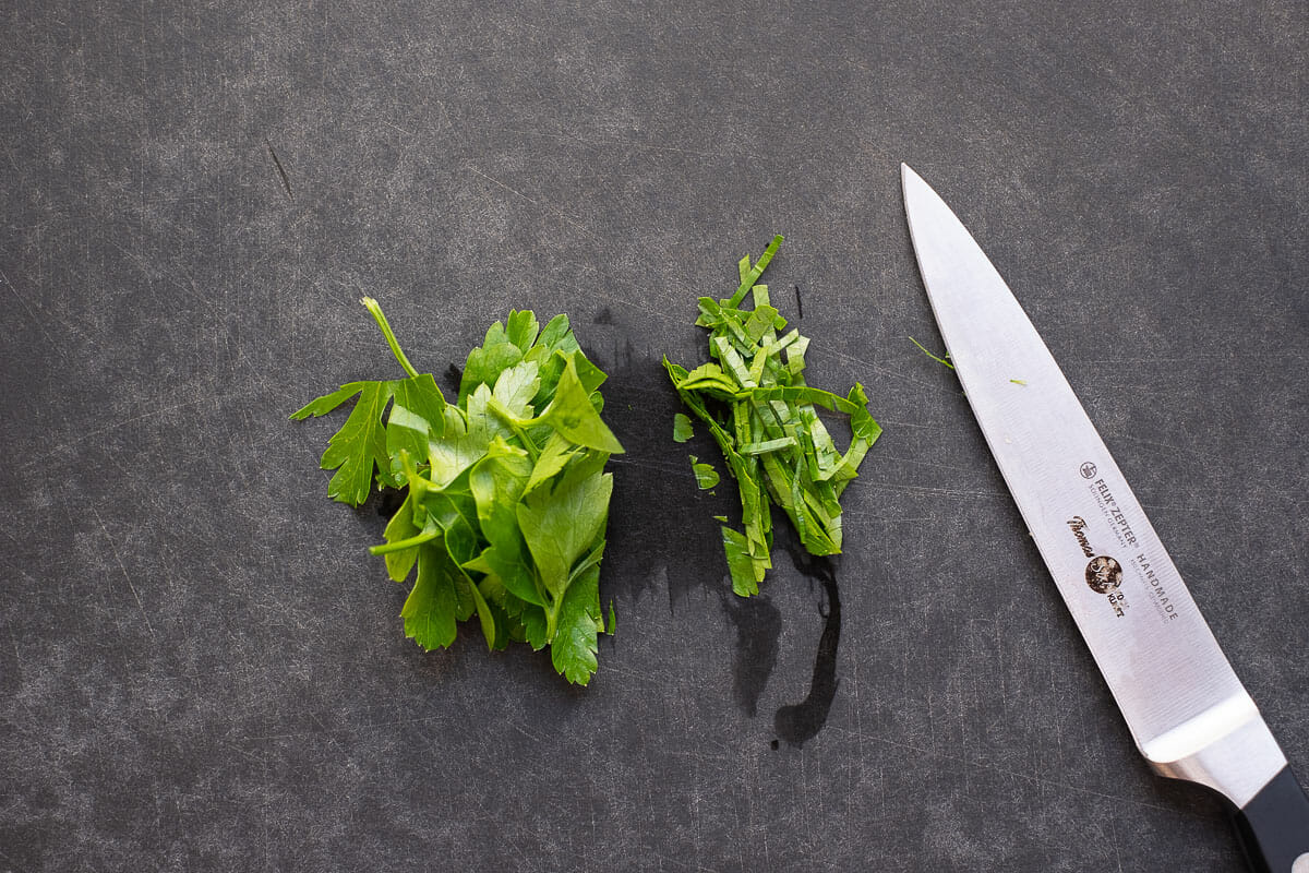 Finely chop the parsley
