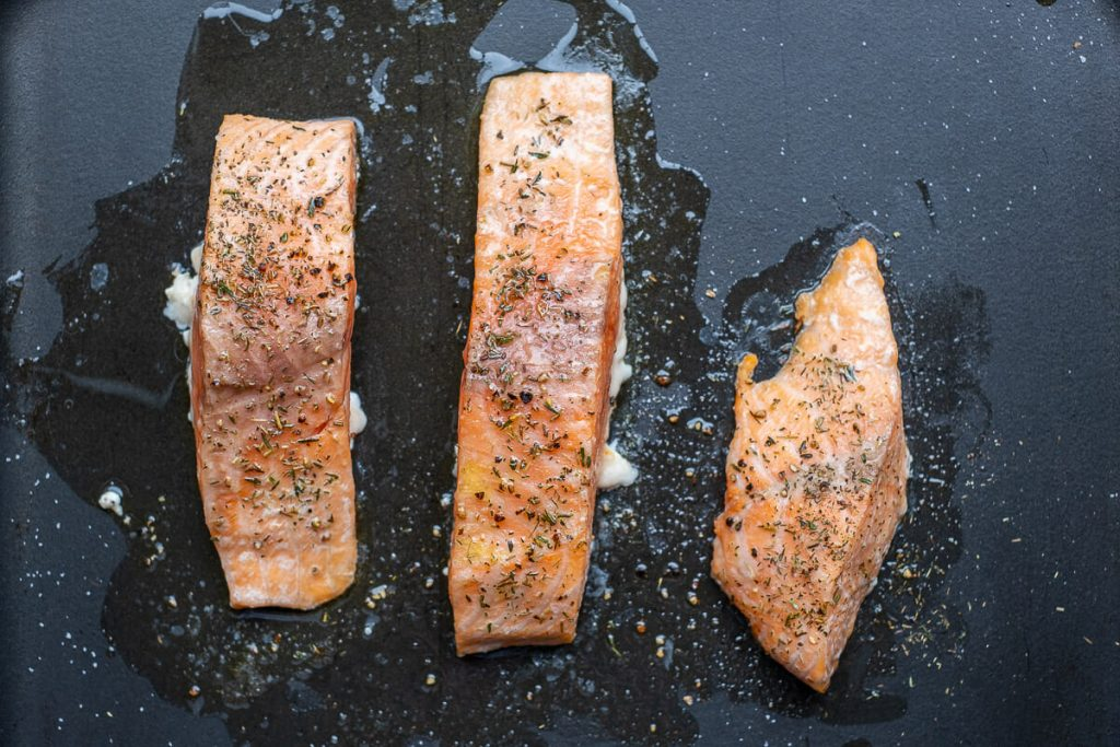 Salmon cooked in the oven
