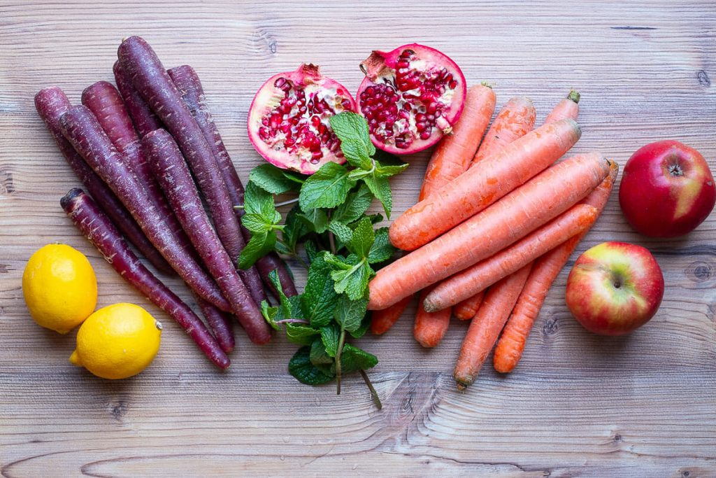 Ingredients for carrot salad