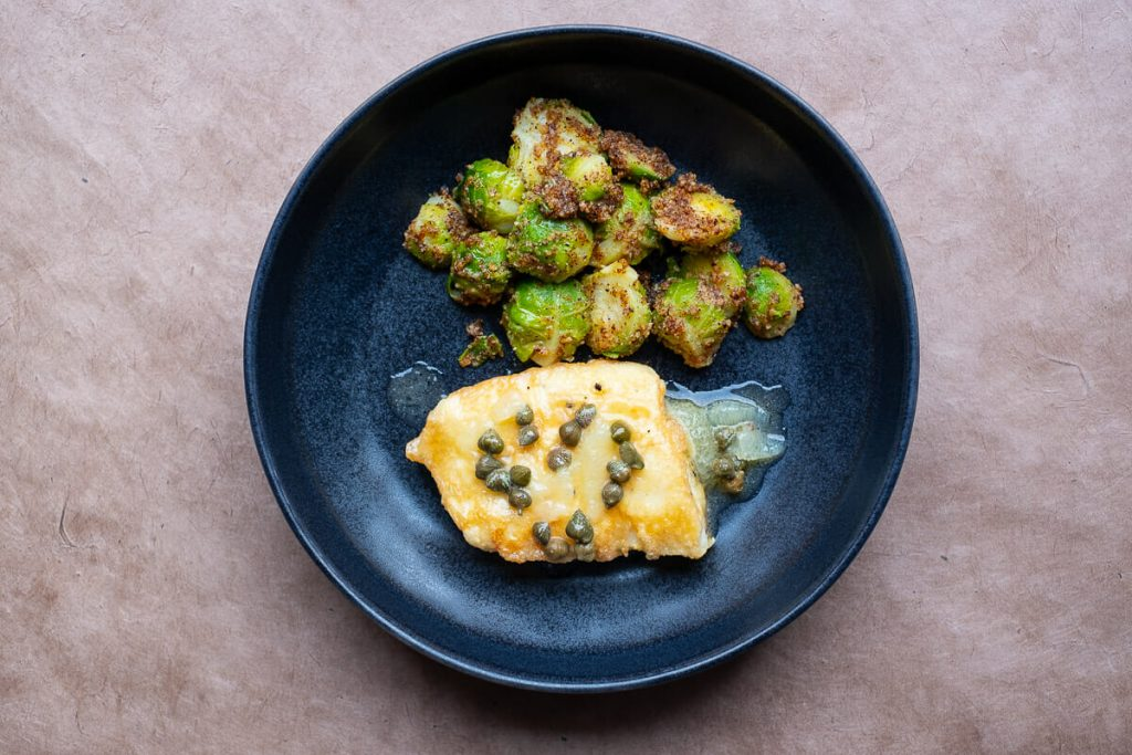 Halibut with Brussels sprouts