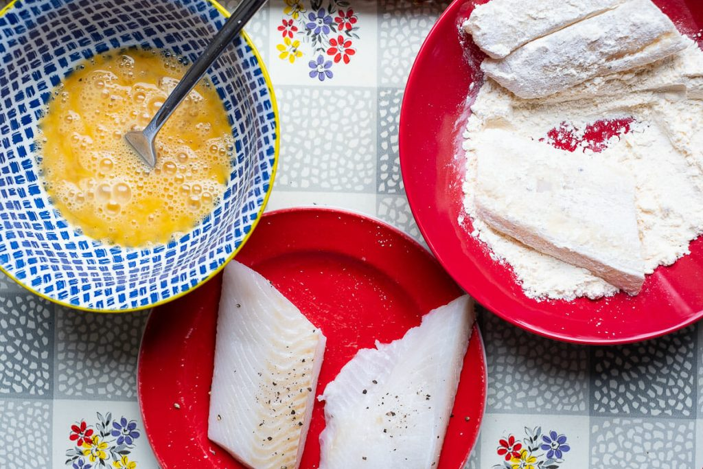 Halibut in egg and flour
