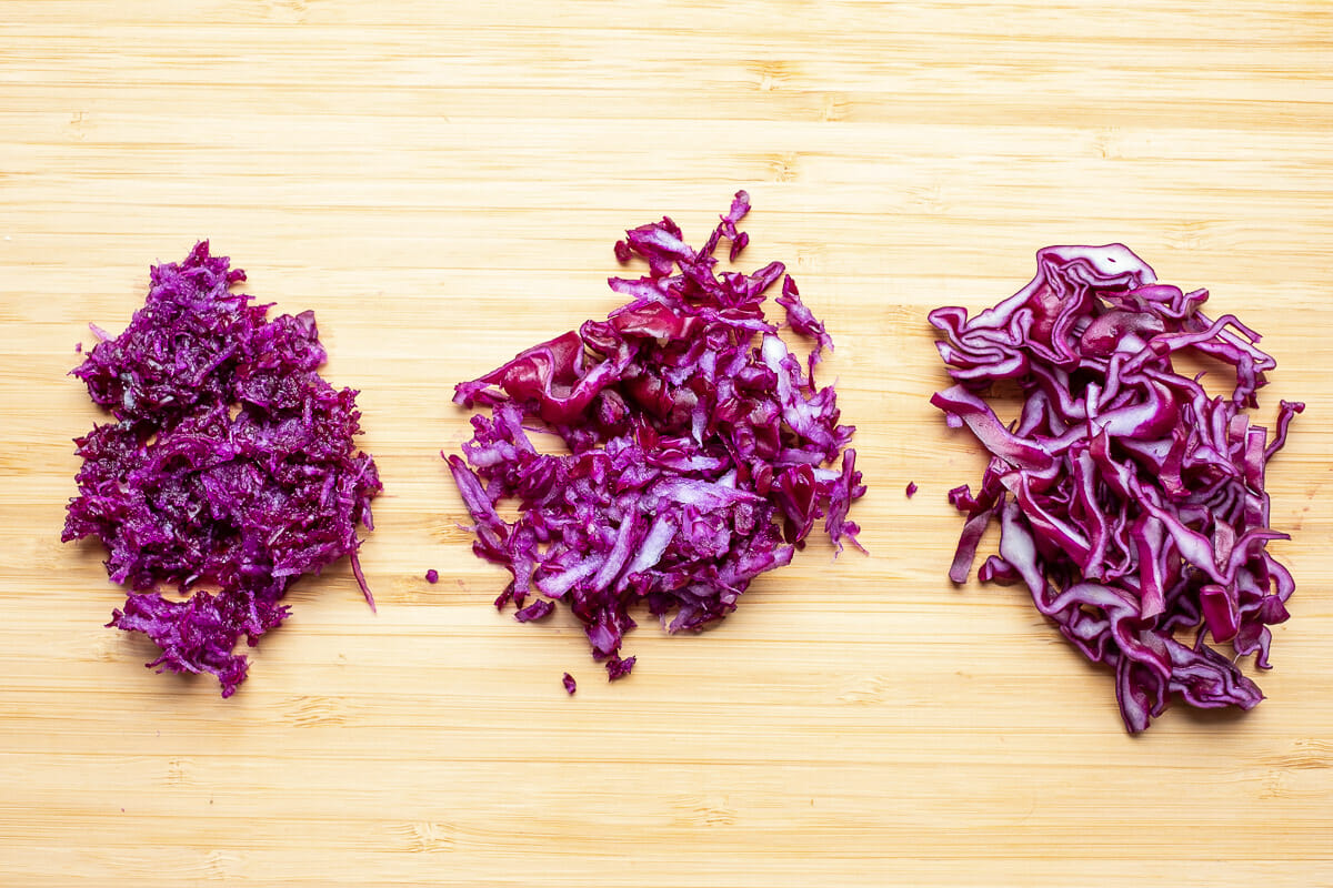 Types of cuts for red cabbage salad