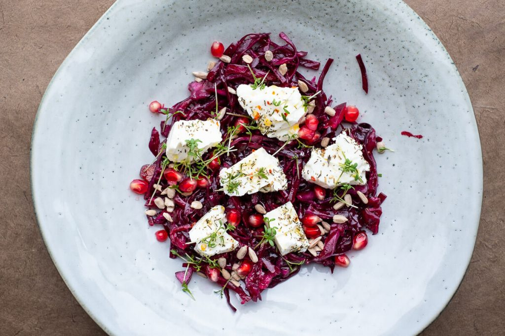 Red Cabbage Salad Sheep Cheese Close-up